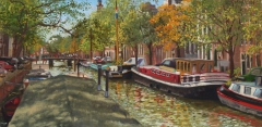 Keizersgracht, Amsterdam, olieverf, 19 x 46 cm, 11/2009, huile, Amsterdam