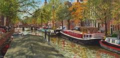 Keizersgracht, Amsterdam, olieverf, 19 x 46 cm, 11/2009, huile, Amsterdam