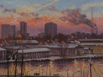 Houthaven, Amsterdam, olieverf, 19 x 25 cm, 1/2010, huile, Amsterdam