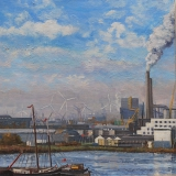 Houthaven, Amsterdam, olieverf, 30 x 30 cm, 12/2011, huile, Le port d'Amsterdam