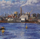 Houthaven, Amsterdam, olieverf, 30 x 30 cm, 12/2011, huile, Amsterdam