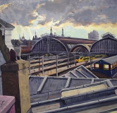Centraal Station, Amsterdam , olieverf, 35 x 35 cm, 2002, huile, Amsterdam