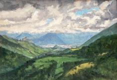Grenoble, olieverf, 18 x 26 cm, 7/2001, huile, Grenoble
