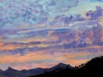 Zonsondergang, olieverf, 19 x 25 cm, 6/2005, huile, Coucher de soleil