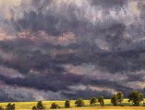 Onweerslucht, olieverf, 19 x 25 cm, 7/2005, huile, Ciel orageux