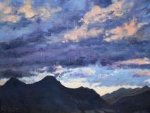 Zonsondergang, olieverf, 19 x 25 cm, 8/2005, huile, Coucher de soleil
