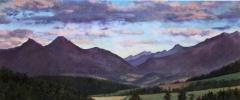 Zonsondergang, olieverf, 19 x 46 cm, 8/2006, huile, Coucher de soleil derrière l'Aup et le Rognon