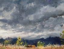 Col du Thaud, olieverf, 19 x 25 cm, 10/2012, huile, Col du Thaud