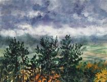 Serre des Neuf Eglises, olieverf, 19 x 25 cm, 11/2014, huile, Serre des Neuf Eglises