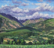Uitzicht Masserange, olieverf, 29 x 31 cm, 8/2017, huile, Vue de Masserange direction Valbonnais