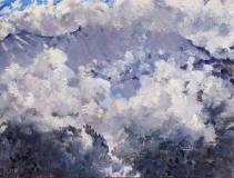 Obiou in de mist,  olieverf, 19 x 25 cm, 4/2018, huile, L'Obiou dans la brume