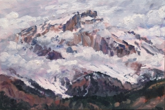De top van de Grd Ferrand,  olieverf, 19 x 25 cm,  4/2018, huile, Le sommet du Grd Ferrand