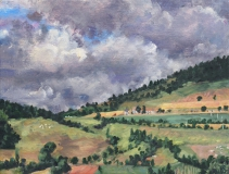 Col du Thau , olieverf, 19 x 25 cm, 7/2018, huile, Col du Thau