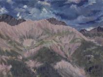 De Obiou, olieverf, 19 x 25 cm, 8/2018, huile, L'Obiou