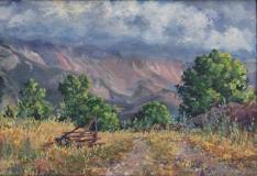 Obiou in de wolken, olieverf , 24 x 35 cm, 8/2020, huile, L'Obiou dans les nuages