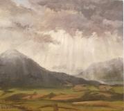 Eerste sneeuw, olieverf, 20 x 23 cm, 1/2003, huile, Première neige sur le Menil