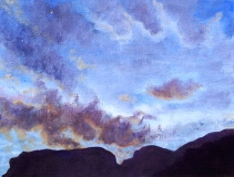 Maansopgang, olieverf, 19 x 25 cm, 8/2006, huile, Lever de la lune
