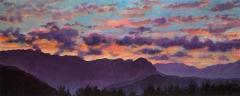 Zonsondergang, olieverf, 19 x 46 cm, 8/2006, huile, Coucher de soleil derrière le Vercors
