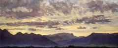 Zonsondergang, olieverf, 19 x 46 cm, 10/2006, huile, Coucher de soleil derrière le Vercors