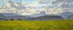 De vlakte van St. Jean d'Hérans, olieverf, 19 x 46 cm, 8/2007, huile, La plaine de St. Jean d'Hérans