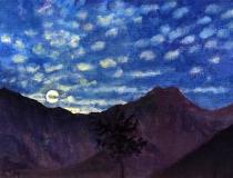 Volle maan, olieverf, 19 x 25 cm, 8/2009, huile, Pleine lune