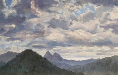 Les Aiguilles de Lus, olieverf, 20 x 31 cm, 8/2011, huile, Les Aiguilles de Lus