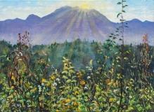 Zonsondergang, olieverf, 20 x 28 cm, 11/2014, huile, Le soleil se couche derrière l'Aup