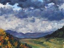 Col du Thaud, olieverf, 19 x 25 cm, 11/2014, huile, Col du Thaud
