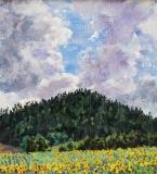 Zonnebloemen van Eric, olieverf, 21 x 19 cm, 7/2017, huile, Tournesols d'Eric sur le Col de Cornillon