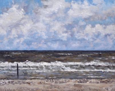 Zee bij Den Haag, olieverf, 19 x 24 cm, 5/2004, huile, La mer à La Haye