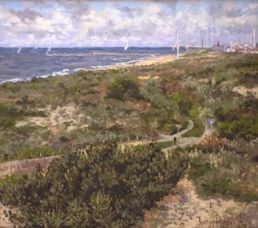 Haven van Scheveningen, olieverf, 26 x 29 cm, 5/2004, huile, Le port de Scheveningen