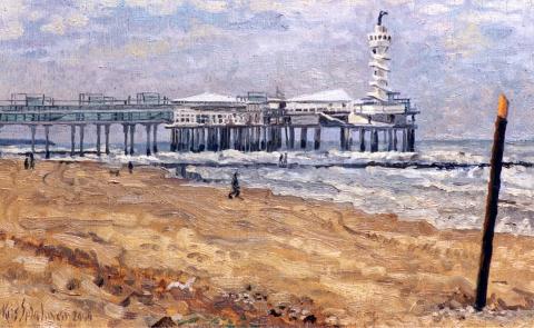 Scheveningse Pier, olieverf, 20 x 32 cm, 2000, huile, Scheveningen