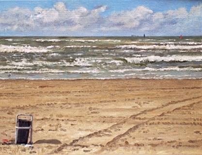 Zee bij Zandvoort, olieverf, 19 x 25 cm, 9/2006, huile, La mer à Zandvoort