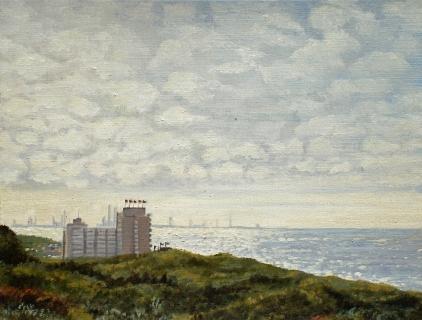 Kijkduin, olieverf, 19 x 25 cm, 9/2006, huile, Kijkduin