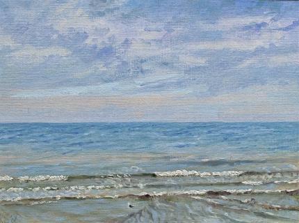 De zee bij Den Haag, olieverf, 19 x 25 cm, 9/2006, huile, La mer à La Haye