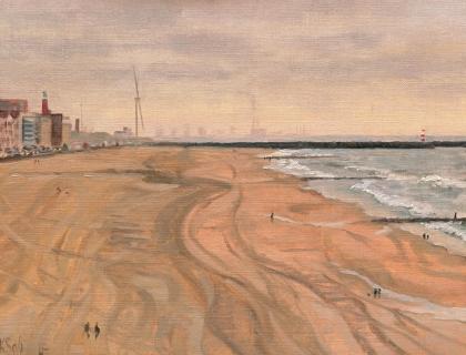 Scheveningen Haven, olieverf, 19 x 25 cm, 12/2006, huile, Le port de Scheveningen