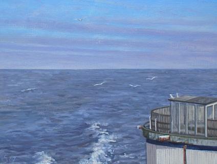 'Schateiland' op Scheveningse Pier, olieverf, 19 x 25 cm, 1/2007, huile, Scheveningen