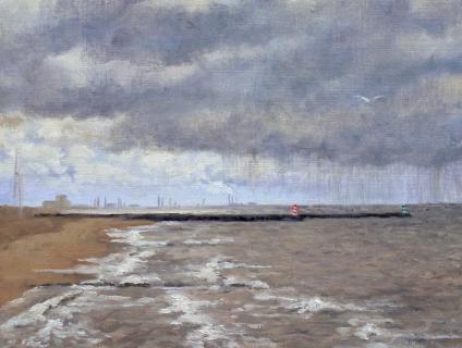 Scheveningen Haven, olieverf, 19 x 25 cm, 2/2007, huile, Le port de Scheveningen