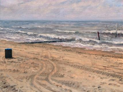 Strand bij Den Haag, olieverf, 19 x 25 cm, 4/2007, huile, Plage à La Haye