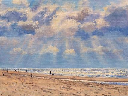Strand bij Egmond, olieverf, 19 x 25 cm, 7/2008, huile, Plage à Egmond