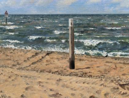 Strand bij Den Haag, olieverf, 19 x 25 cm, 4/2009, huile, Plage à La Haye