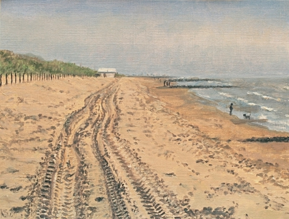 Het Stille Strand bij Den Haag, olieverf, 19 x 25 cm, 4/2009, huile, Plage à La Haye