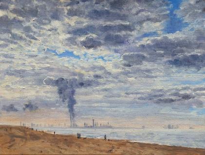 Hoek van Holland, olieverf, 19 x 25 cm, 11/2009, huile, Hoek van Holland,