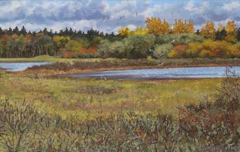 Wei van Brasser - Castricum, olieverf, 24 x 37 cm, 4/2011, huile, Castricum