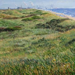 Gezicht op IJmuiden, olieverf, 35 x 35 cm, 7/2013, huile, Vue sur IJmuiden