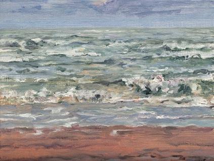 Zee bij Bergen, olieverf, 19 x 25 cm, 9/2014, huile, La mer à Bergen