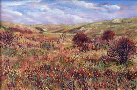 Duin bij Castricum, olieverf, 26 x 39 cm, 10/2015, huile, Les dunes à Castricum