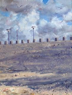De dijk van de uitwatering van Katwijk, olieverf, 25 x 19 cm, 7/2017, huile, Digue à Katwijk