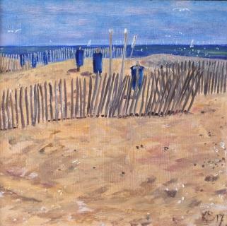 Stand bij de uitwatering van Katwijk, olieverf, 20 x 20 cm, 7/2017, huile, Plage à Katwijk