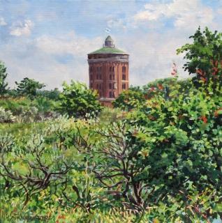 Watertoren Katwijk, olieverf, 30 x 30 cm, 6/2018, huile, Château d'eau, Katwijk